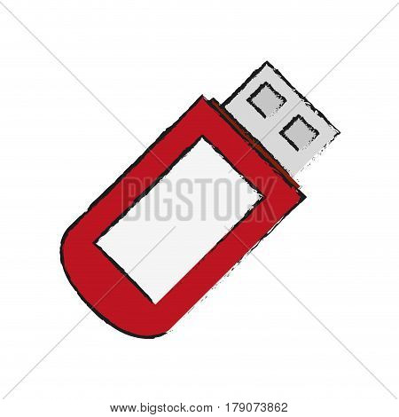 usb flash disk icon over white background. vector illustration