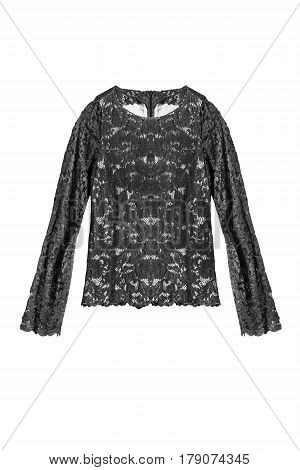Black lacy blouse with long sleeves isolated over white