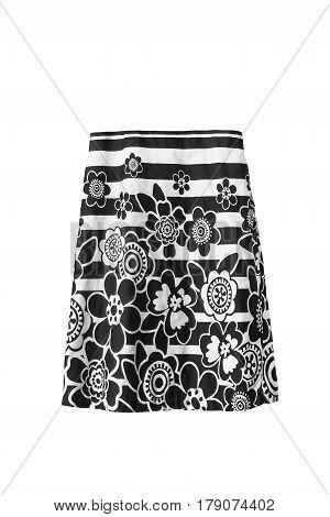 Black and white knee length skirt on white background
