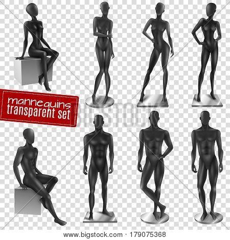 Retail window display black realistic female male full body movable joints mannequins collection transparent background vector illustration
