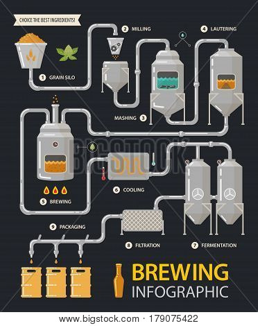 Brewing infographic of beer production process with tanks and filters. Milling and lautering, brew and cooling, fermentation and filtration, packaging stages. Alcohol or booze, factory line and drink
