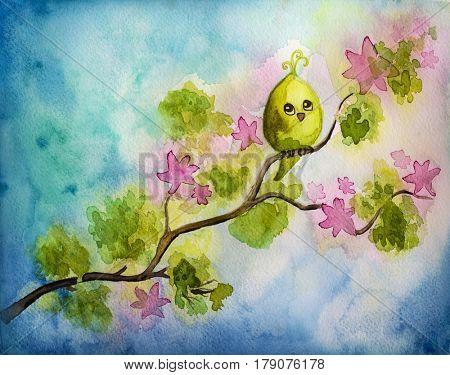 Funny little bird on a tree