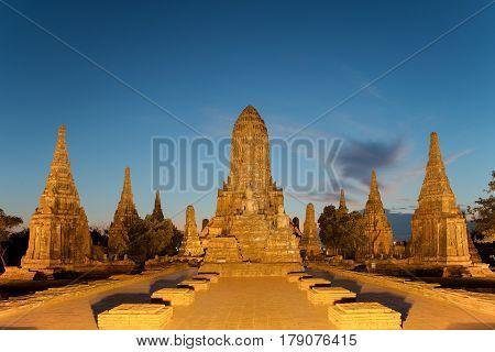Old Temple wat Chaiwatthanaram of Ayutthaya Province. Ayutthaya Historical Park in Asia Thailand.