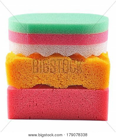 Sponge Tri-color Bath Sponge isolated on white background