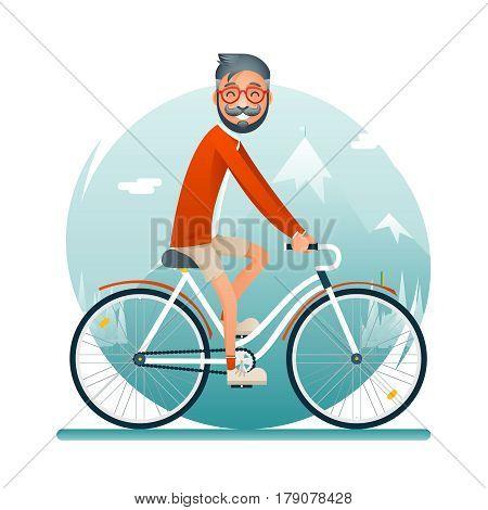 Geek Hipster Travel Lifestyle Concept Planning Summer Vacation Tourism Journey Symbol Man Bike Forest Background Flat Design Template Vector Illustration