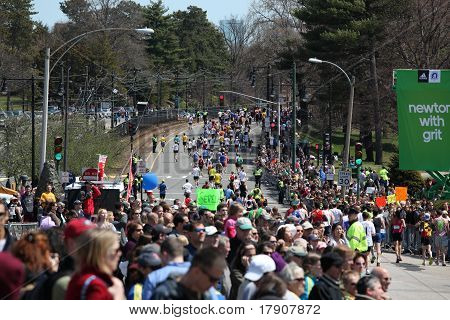 BOSTON - APRIL 18 : Fans cheer and encourage runners during the Boston Marathon on April 18, 2011 in