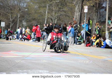 BOSTON - APRIL 18 : Wheelchair and Handcycle Racers participated in the Boston Marathon on April 18,