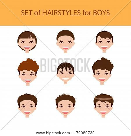 Set of hairstyles for boys. Cartoon style. Vector illustration.