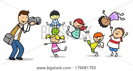 Cartoon of photographer making pictures from kids with his camera