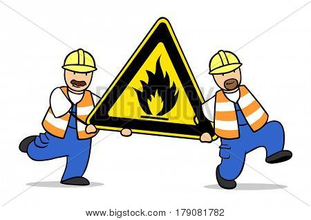 Two workers carry precaution flammable road sign