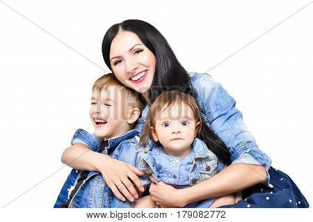 Portrait of a happy young mother with her cute children, closeup, isolated on white background
