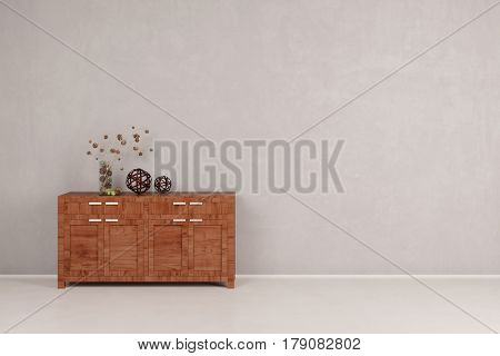 Wooden cabinet or dresser next to wall in empty gray corridor (3D Rendering)
