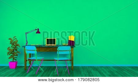 Colorful home office with laptop computer on desk