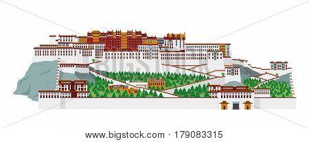 Potala Palace Lasha (Tibet) China. Isolated on white background vector illustration.