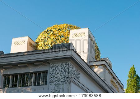 VIENNA, AUSTRIA - April 20,2016 : Vienna Secession Building was formed in 1897 by a group of Austrian artists. Vienna Secession on April 20,2016.Vienna, Austria