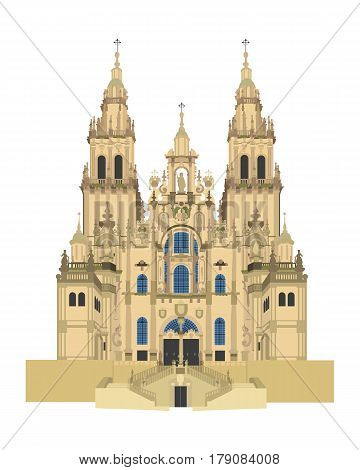Santiago de Compostela Cathedral Spain. Isolated on white background vector illustration.