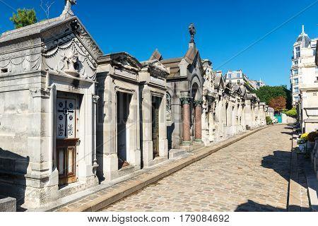 PARIS, FRANCE - SEPTEMBER 24, 2013: The famous old Montmartre Cemetery in Paris.