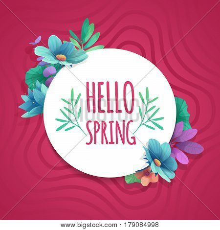 Round banner with the Hello Spring logo. Card for spring season with white frame and herb. Promotion offer with spring plants, leaves and flowers decoration on pink background. Vector.
