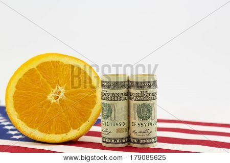 Economic importance of American agricultural industry seen in currency citrus and flag imagery.