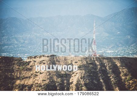 HOLLYWOOD CA - SEPTEMBER 28 2016: Hollywood sign and Los angeles view from helicopter.Originally created as advertisement for real estate development.