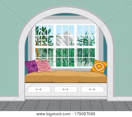A window seat with padded seat, storage below, the amazing mountains view. Light interior in a classic, modern and provencial style.  Vector illustration of a living room with large windows