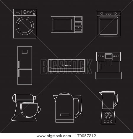 Set of simple appliances lineart icons on black background vector illustration