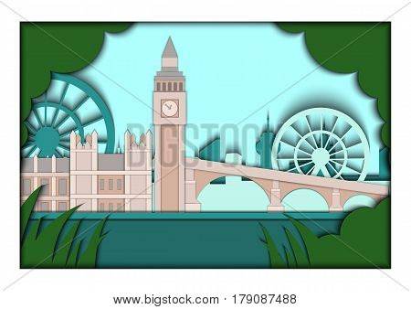 Paper applique style illustration. Card with application of London ponorama with Big Ben Tower and Westminster Palace. London. Postcard