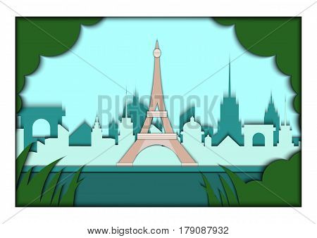 Paper applique style illustration. Card with application of Paris ponorama with Eiffel Tower. Postcard