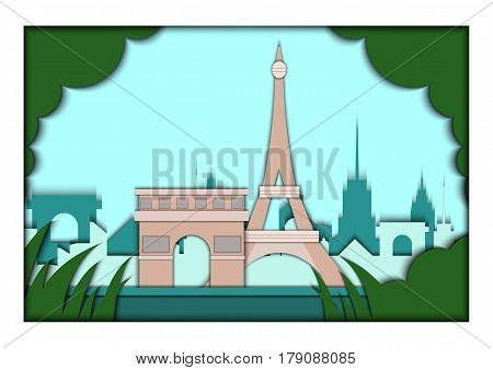 Paper applique style illustration. Card with application of Paris ponorama with Eiffel Tower and Triumphal Arch. Postcard