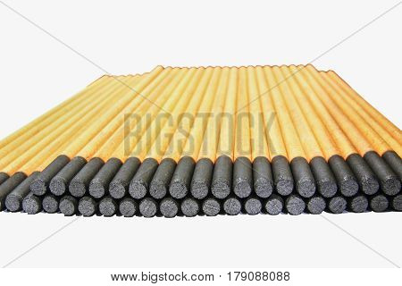 Gouging carbon electrode rods on white background