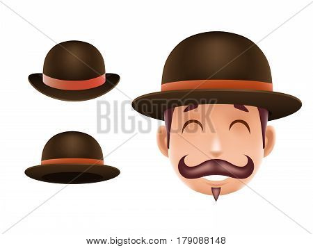 Gentleman Victorian Business Cartoon Bowler Hat Icon English Isolated Background Retro Vintage Great Britain Design Vector Illustration