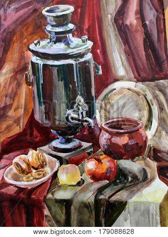 still life gouache color painting the samovar dinnerware