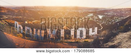 LOS ANGELES CALIFORNIA - SEPTEMBER 25 2016: The Hollywood sign overlooking Los Angeles. The iconic sign was originally created in 1923.