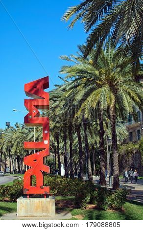 Red Palma Word Sculpture