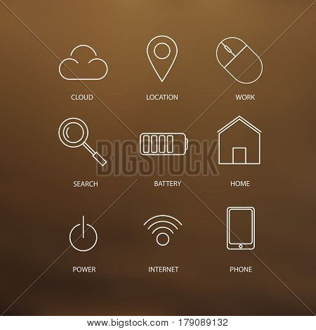 Set of vector stoke web icons with mesh background