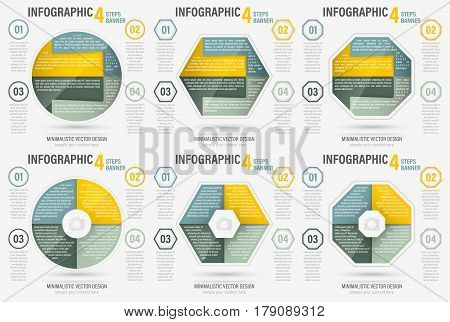 Set Of Abstract Business Four Steps Vector Infographic Banner.