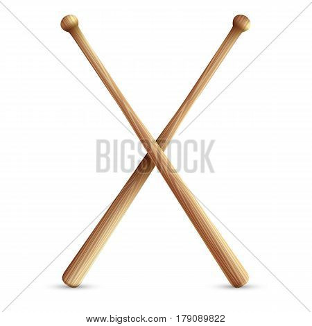 Two crossed wooden baseball bats. Isolated on white background. Vector illustration