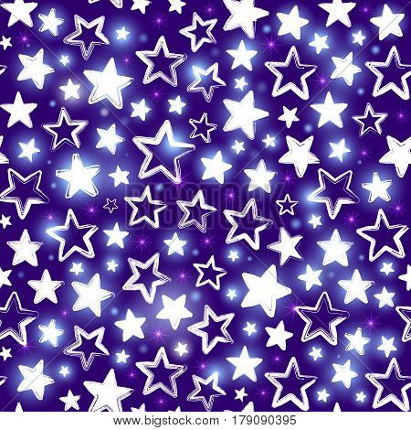 Seamless pattern with shining stars on purple background. Beautiful greeting background. Wrapping paper. Vector illustration