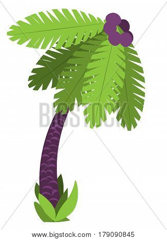 palm tree with a grass and cocoes the vector drawing