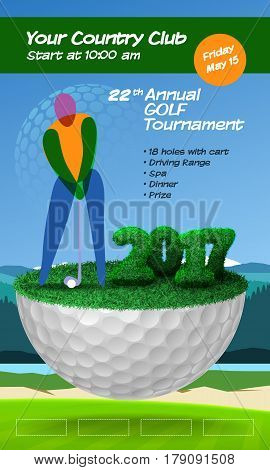 Golfer Standing On Half Golf Ball. Golf Ticket Vertical Brochure Template