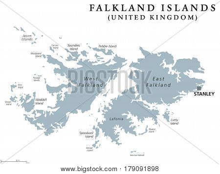 Falkland Islands political map with capital Stanley. British overseas territory. Archipelago in South Atlantic Ocean on Patagonian Shelf. Gray illustration. White background. English labeling. Vector.