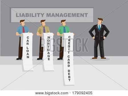 Cartoon business professional faces long list of car loan mortgage and credit card debt. Creative vector illustration for metaphor on liability management for businesses.