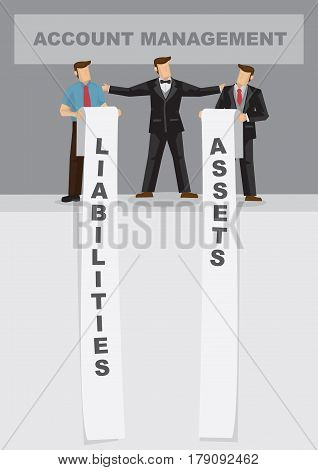 Cartoon business professional with long list of assets and liabilities. Creative vector illustration for metaphor on balance sheet management for account department.