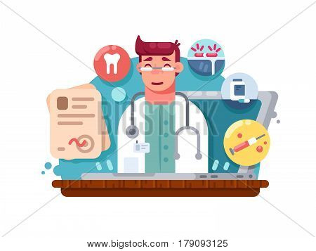 Service online doctor. Medical consultation and treatment remotely. Vector illustration