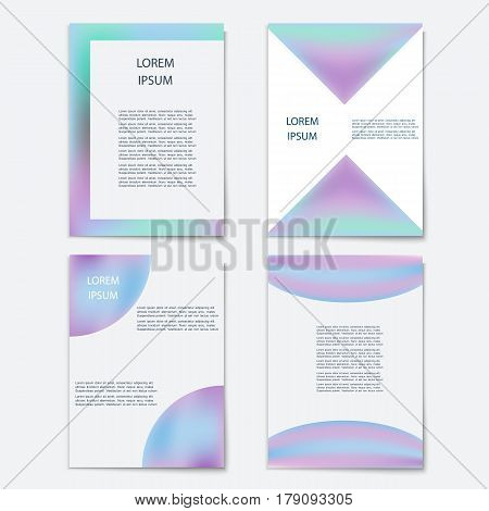 Vector set of template with holographic shapes backgrounds.Trendy geometric covers design for postersmagazinescardscoversflyers