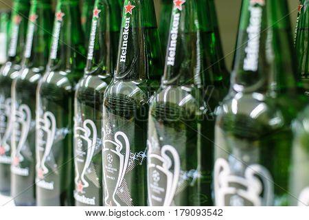 Nowy Sacz Poland - March 29 2017: Heineken Beer on store shelves for sale in a Tesco Hypermarket. Heineken is famous Dutch brewing company.