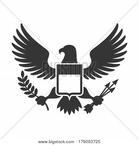 American Presidential Symbol. Eagle with Shield Logo. Vector illustration