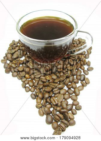 cup of coffee and beans africa continent shape