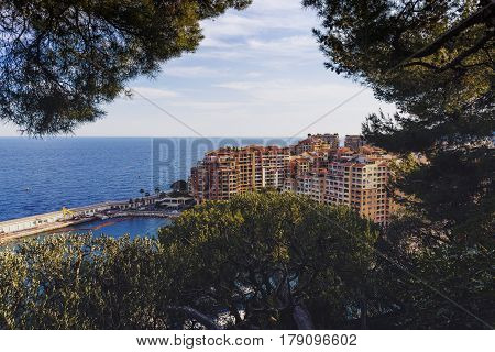 MONACO MONTECARLO - MAY 6 2016: View of the Port de Fontevieille shot on a sunny summer day from the Jardins de Saint Martin