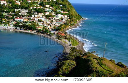 Scottshead dominica island mountain view with caribbean sea and atlantic ocean in view
